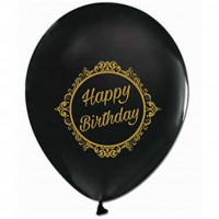 BALON BASKILI 12 İNC 1+1 ELEGANT HAPPY BİRTHDAY SİYAH ALTIN  Pakette 100 Adet