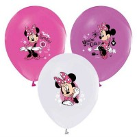 BALON BASKILI LİSANSLI 12 İNC 4+1 MINNIE  Pakette 12 Adet