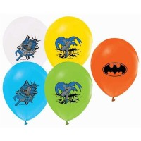 BALON BASKILI LİSANSLI 12 İNC 4+1 BATMAN  Pakette 12 Adet
