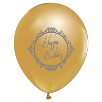 BALON BASKILI 12 İNC 1+1 ELEGANT HAPPY BİRTHDAY ALTIN  Pakette 100 Adet