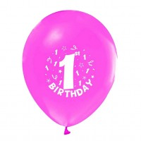 BALON BASKILI 12 İNC 1+1 HAPPY BİRTHDAY 1 YAŞ PEMBE  Pakette 100 Adet