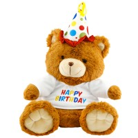 Neco Plush Oturan Happy Birthday Peluş Ayı 40 cm