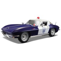 Maisto 1:18 1965 Chevrolet Corvette Police Model Araba S/E