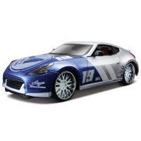 Maisto 2009 Nissan 370Z 1:24 Model Araba Custom Shop Mavi Gri