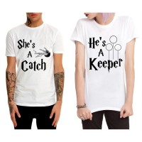 Harry Potter - She`s a Catch & He`s a Keeper Çift T-Shirt