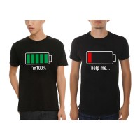 Battery Full - I`m 100% & Battery Off - Help Me Erkek Çift T-Shirt
