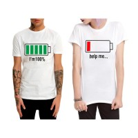 Battery Full - I`m 100% & Battery Off - Help Me Çift T-Shirt