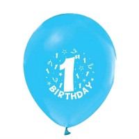 BALON BASKILI 12 İNC 1+1 HAPPY BİRTHDAY 1 YAŞ MAVİ  Pakette 100 Adet