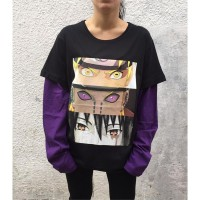 Naruto Mix Eyes Unisex Mor Kollu T-shirt