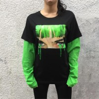 Art - Green Hair Crying Harajuku Girl Unisex Kollu T-shirt