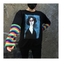 Watercolour Girl Unisex Gökkuşağı Kollu Sweatshirt