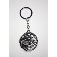 "Game of Thrones - ""Targaryen"" (SILVER) Fire and Blood House Crest Anahtarlık"