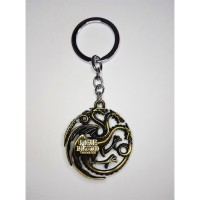 "Game of Thrones - ""Targaryen"" (GOLD) Fire and Blood House Crest Anahtarlık"
