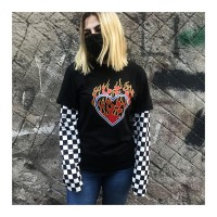 Burning Heart Unisex Damalı Kollu T-shirt