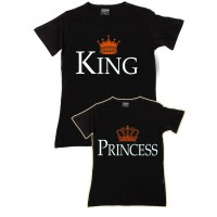 King & Princess  Baba - Kız Aile T-shirtleri