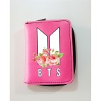 K-Pop BTS - New Logo Flowers Pembe Cüzdan